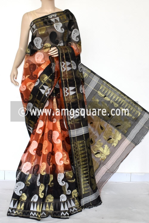 Black Orange Dhakai Jamdani Handwoven Bengal Tant Cotton Saree (Without Blouse) Zari Border 17419