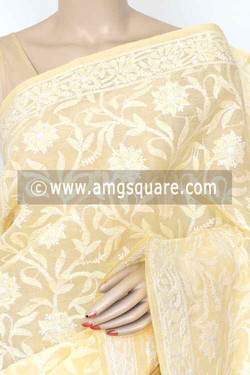 Light Beige Allover Hand Embroidered Lucknowi Chikankari Saree (With Blouse - Cotton) 14664