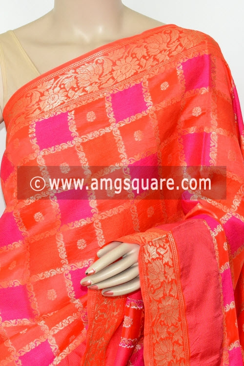 Orange Handloom Katan Pure Silk Saree (Ghatchola - With Blouse) Allover Zari Weaving 16265