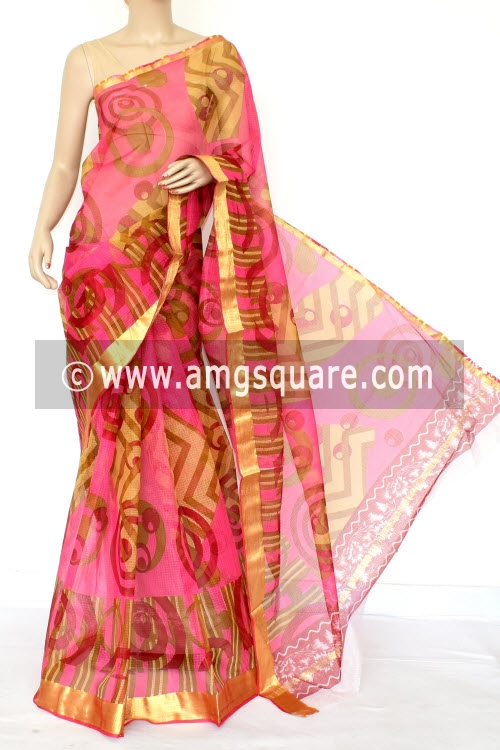 Pink JP Kota Doria Floral Printed Cotton Saree (without Blouse) Zari Border 13528