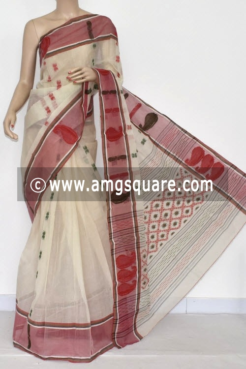 Off White Handwoven Bengal Tant Cotton Saree (Without Blouse) 14120