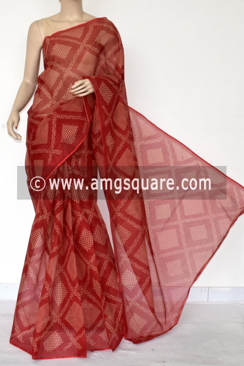 Red Chunri Print Premium JP Kota Doria Cotton Saree (without Blouse) 13541