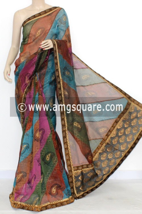 Multi-Color Designer Supernet Embroidered Saree (With Blouse) Gold Print 16155