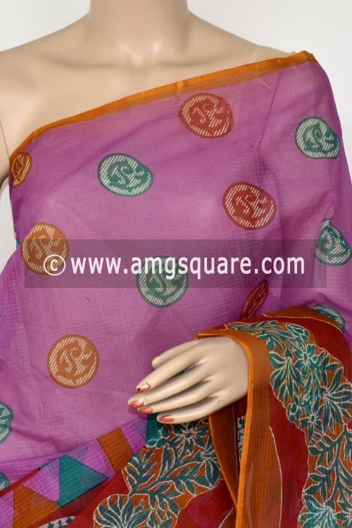 Purple Red Premium JP Kota Doria Printed Cotton Saree (without Blouse) 15397
