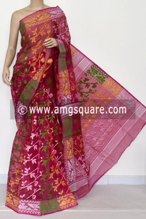 Rani Pink Handwoven Bengali Tant Kora Cotton Jamdani Saree (Without Blouse) 17221