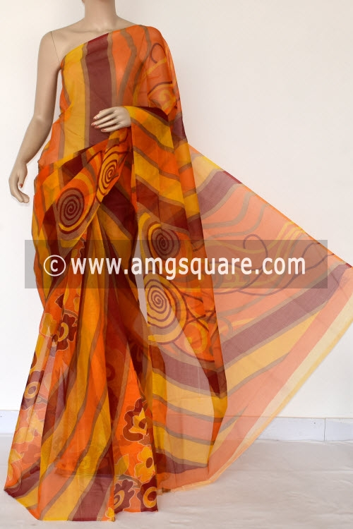 Maroon Yellow Premium JP Munga Kota Printed Cotton Saree (without Blouse) 15377