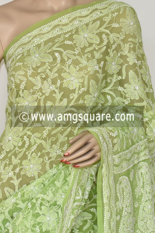 Menhdi Green Allover Hand Embroidered Lucknowi Chikankari Saree (With Blouse - Georgette) 14844