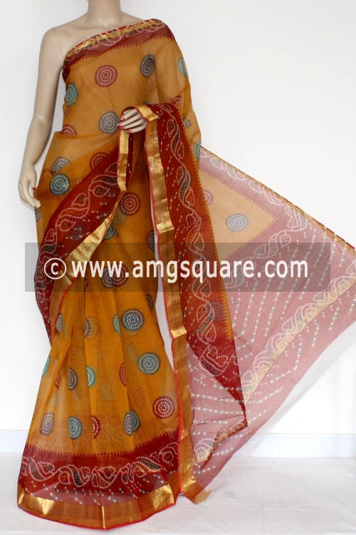 Mustared Yellow JP Kota Doria Printed Cotton Saree (without Blouse) Zari Border 13570