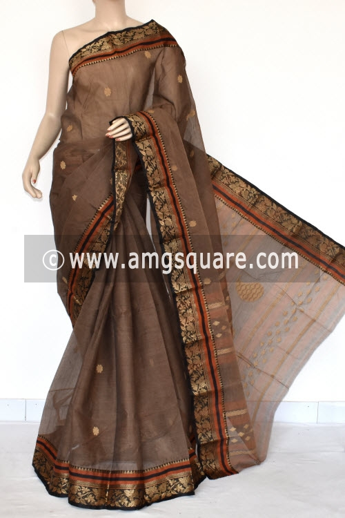 Chocolate Handwoven Bengal Tant Cotton Saree (Without Blouse) Resham Border 17110