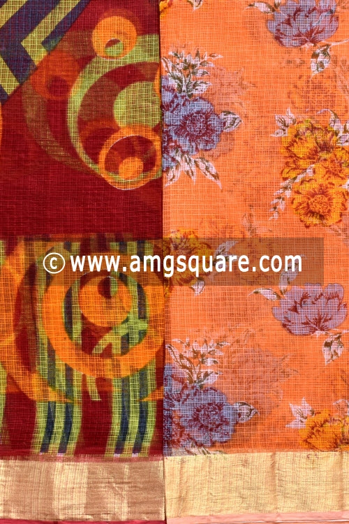 Maroon and Orange Allover Floral Printed JP Kota Sarees (Set of Two Sarees) 16003