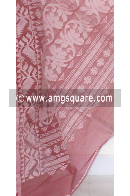 Move Handwoven Bengal Tant Cotton Jamdani Saree (Without Blouse) Half-Half 17268
