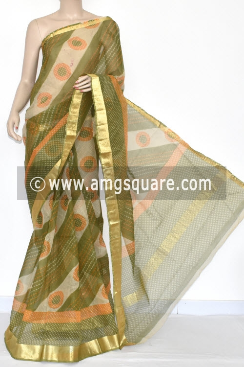 Menhdi Green Laheria JP Kota Doria Chunri Print Cotton Saree (without Blouse) Zari Border 15353