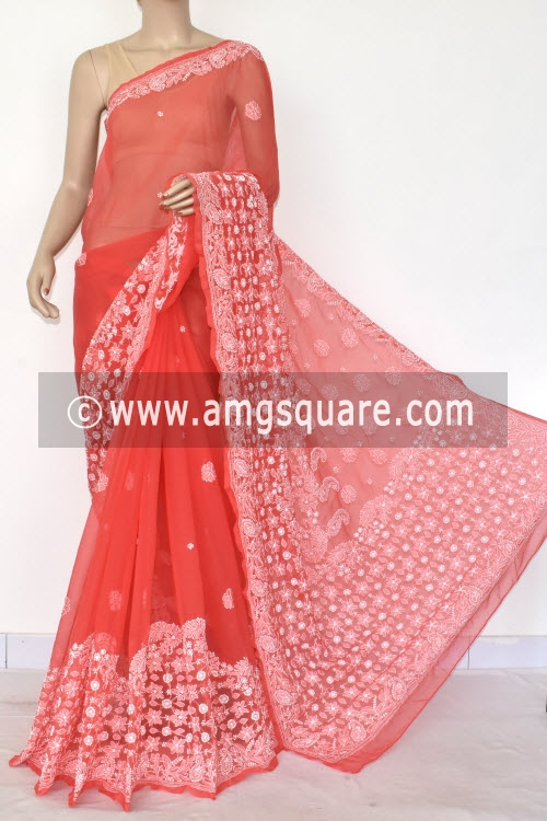 Deep Peach Designer Hand Embroidered Lucknowi Chikankari Saree (With Blouse - Georgette) 14600