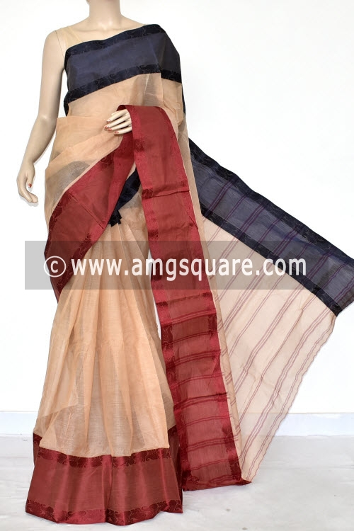 Fawn Handwoven Bengal Tant Cotton Saree (Without Blouse) Ganga Yamuna Border 14279