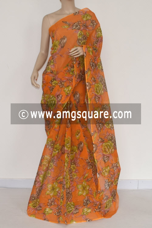 Orange Premium JP Kota Doria Floral Print Cotton Saree (without Blouse) 15370