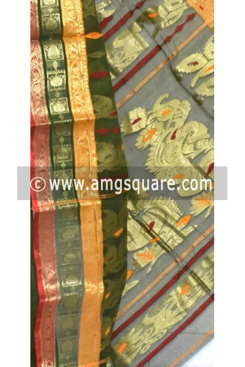 Bottle Green Handwoven Bengali Tant Cotton Saree (Without Blouse) Zari Border 14189