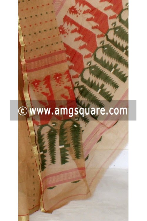 Fawn Handwoven Thousand Booti Bengal Tant Cotton Saree (Without Blouse) 14001