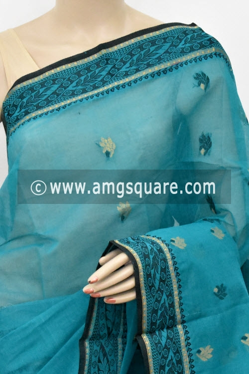 Sea Green Handwoven Bengal Tant Cotton Saree (Without Blouse) 17423