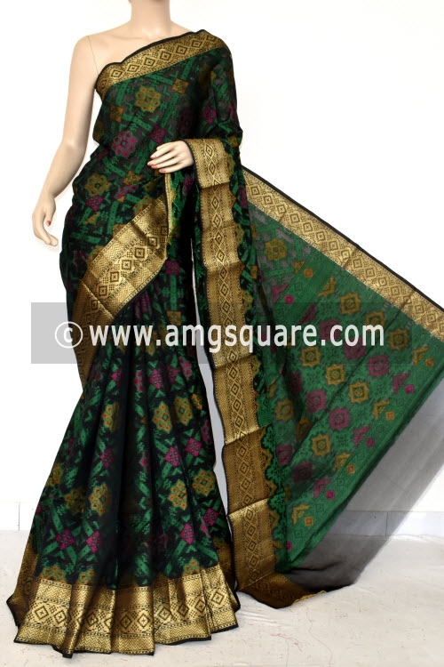 Black Handloom Banarasi Kora Saree (with Blouse) Allover Resham Weaving 16236