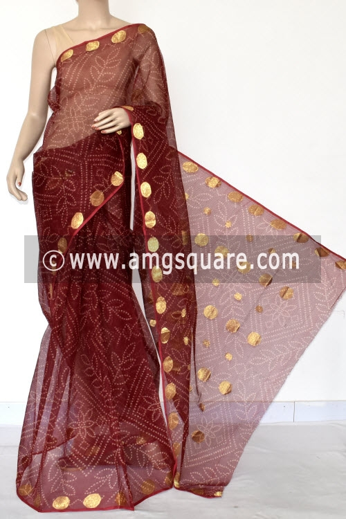 Maroon Chunri Print JP Kota Doria Cotton Saree (without Blouse) Zari Border and Pallu 13546