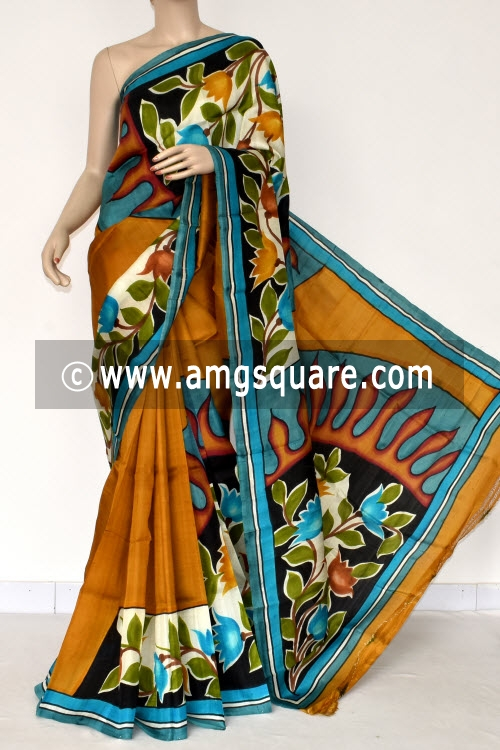 Mustared Handprint Pure Silk Handloom Saree (With Blouse) 13830