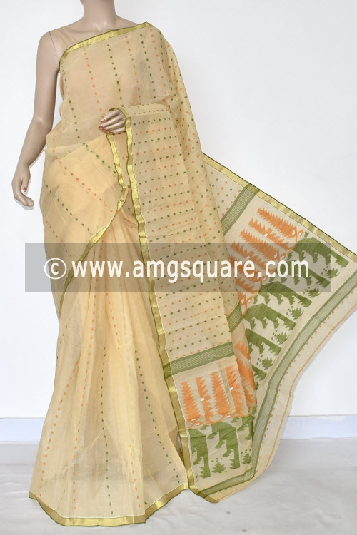 Beige Thousand Booti Handwoven Bengal Tant Cotton Saree (Without Blouse) 17025