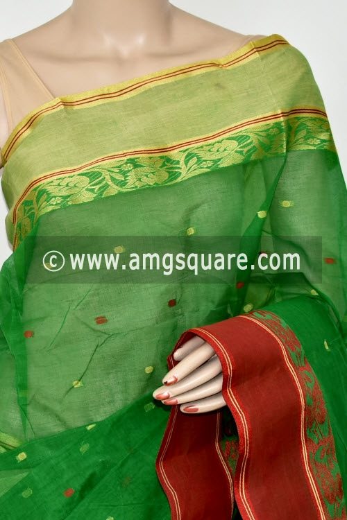 Green Red Handwoven Bengal Tant Cotton Saree (Without Blouse) Ganga Yamuna Border 17202