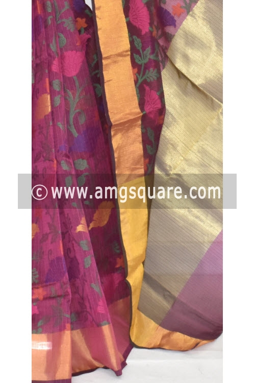 Magenta Banarasi Kora Cot-Silk Handloom Saree (With Blouse) Zari Border 16132