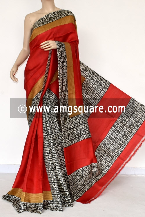 Red Black Vedic Handprint Pure Silk Handloom Saree (With Blouse) 13809