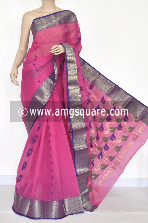 Pink Handwoven Bengal Tant Cotton Saree (Without Blouse) Zari Border 17328