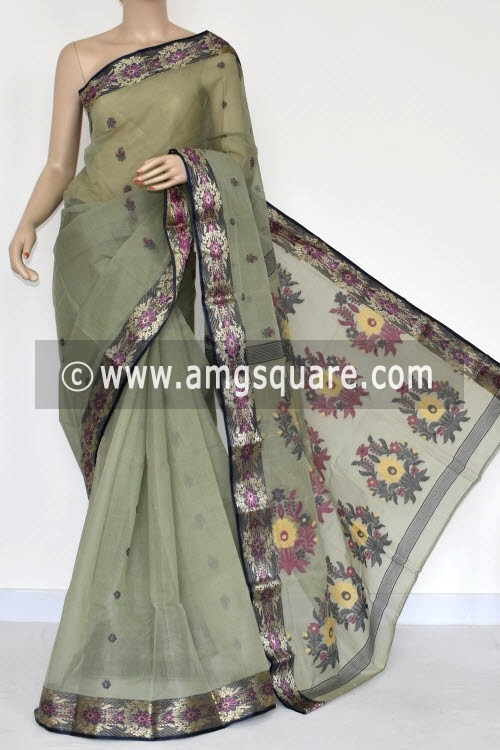 Greysh Green Handwoven Bengal Tant Cotton Saree (Without Blouse) 17232