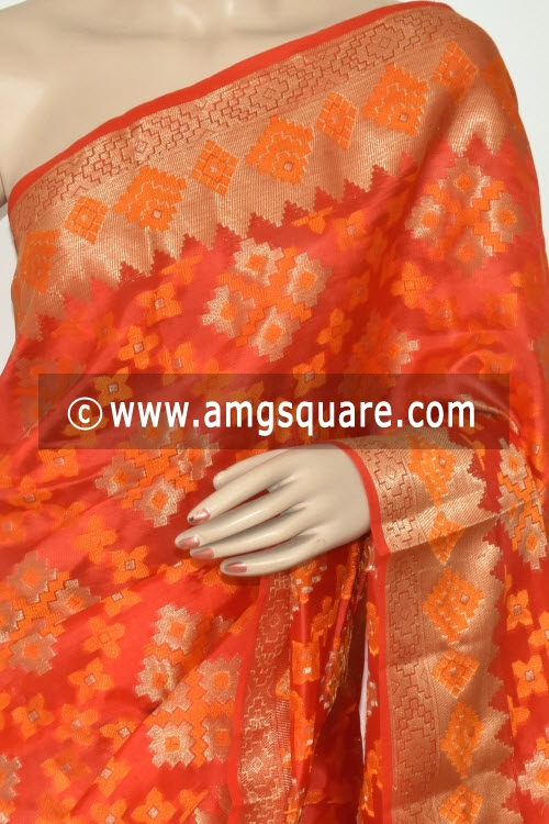 Orange Handloom Banarasi Kora Saree (with Blouse) Allover Zari Weaving 16176