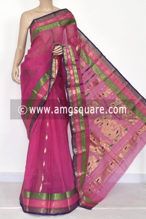 Magenta Handwoven Bengal Tant Cotton Saree (Without Blouse) Zari Border 14191