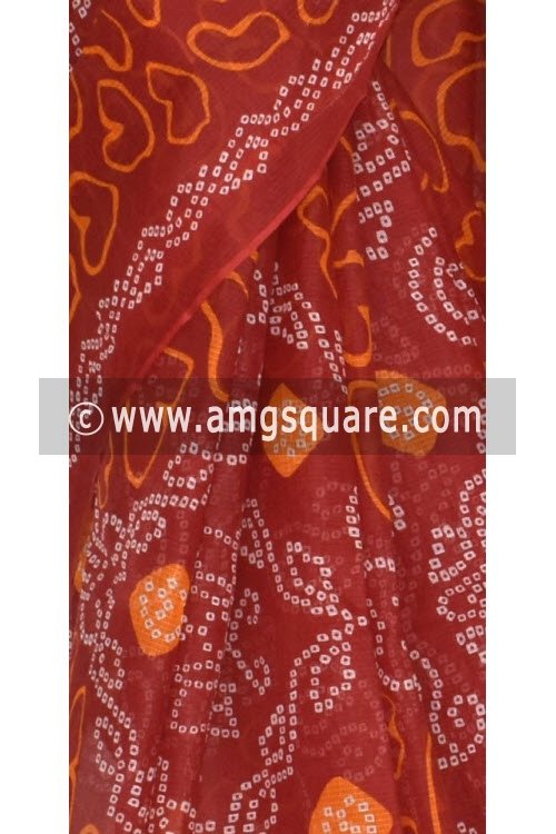 Red JP Kota Doria Chunri Print Cotton Saree (without Blouse) 15337