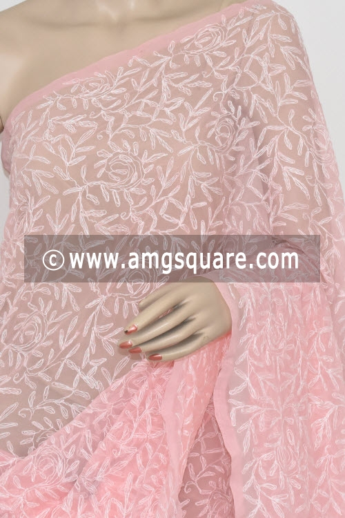 Light Pink Allover Tepchi Work Hand Embroidered Lucknowi Chikankari Saree (With Blouse - Georgette) 14837