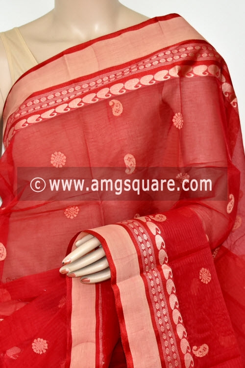 Red Handwoven Bengal Tant Cotton Saree (Without Blouse) Allover Booti 17238