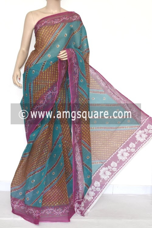 Sea Green Magenta JP Kota Doria Printed Cotton Saree (without Blouse) 15332