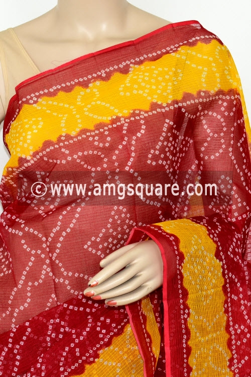 Maroon Premium JP Kota Doria Chunri Print Cotton Saree (without Blouse) 15432