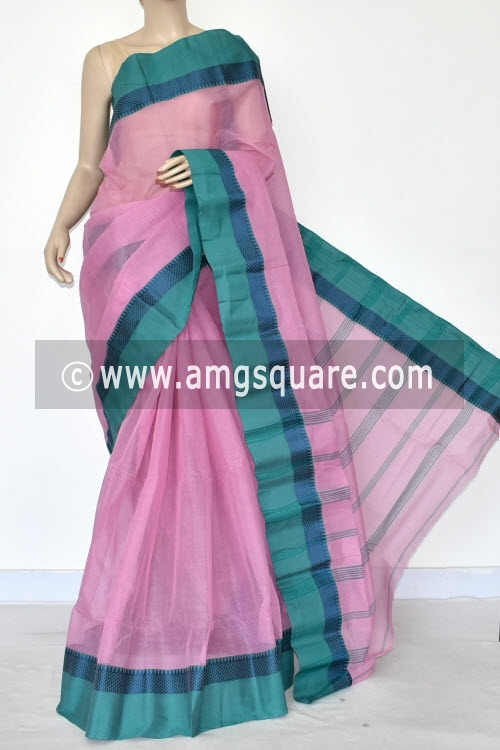 Pink Handwoven Bengal Tant Cotton Saree (Without Blouse) 14283