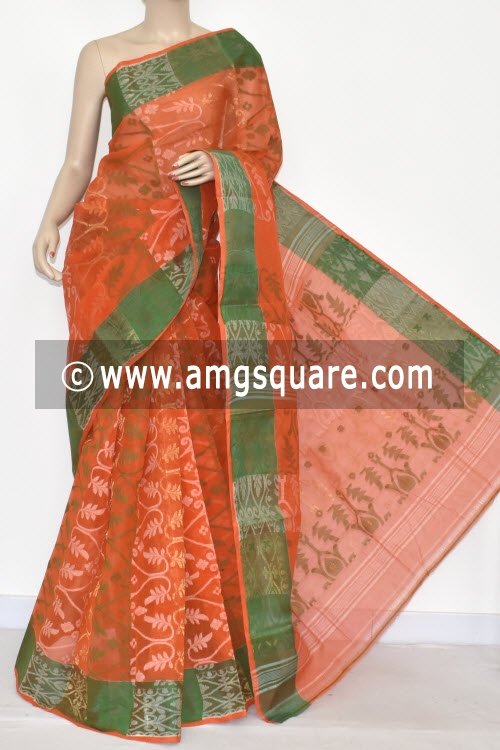 Orange Jamdani Handwoven Bengal Tant Cotton Saree (Without Blouse) 17345