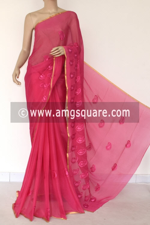Pink Handloom Semi-Chiffon Saree (with Blouse) Resham Embroidery 16188