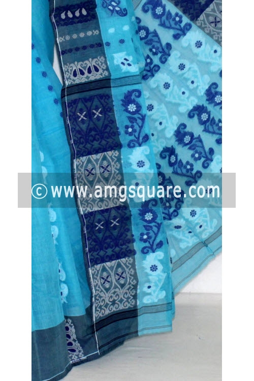 Pherozi Blue Handwoven Bengal Tant Cotton Saree (Without Blouse) 14155