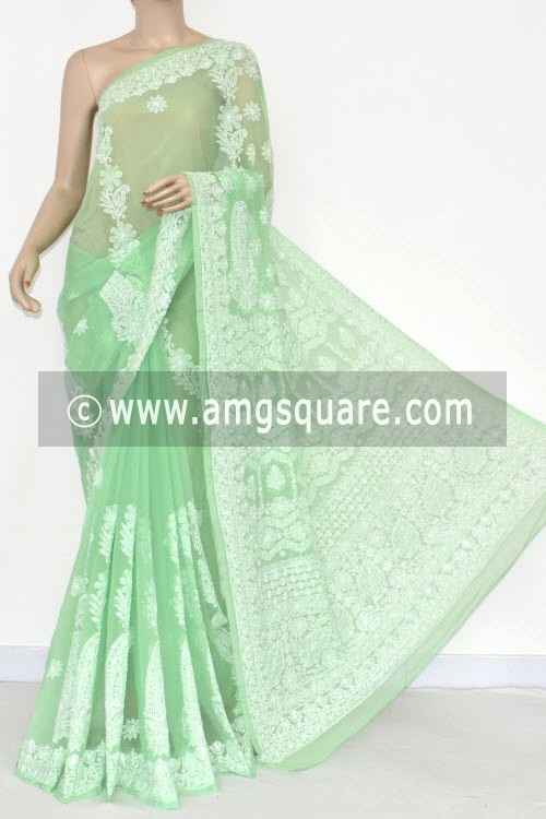 Pista Green Designer Hand Embroidered Lucknowi Chikankari Saree (With Blouse - Georgette) 14481
