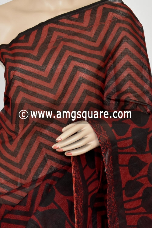 Maroon Black Premium JP Kota Doria Printed Cotton Saree (without Blouse) 15362