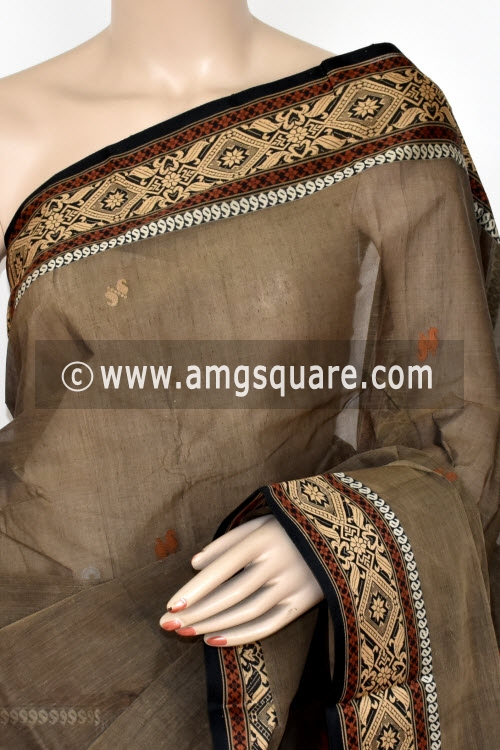 Chocolate Handwoven Bengal Tant Cotton Saree (Without Blouse) Resham Border 17109