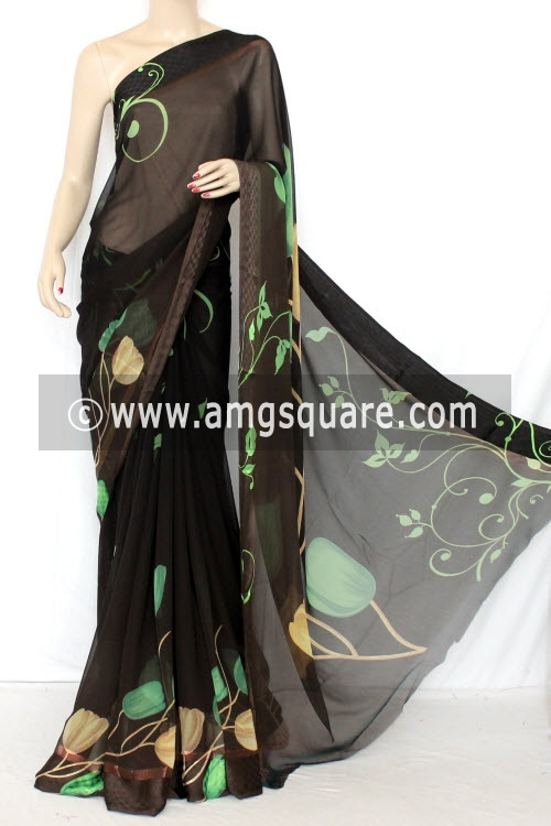 Coffee Color Printed Dx Quality Faux Georgette Saree (With Blouse) 13346