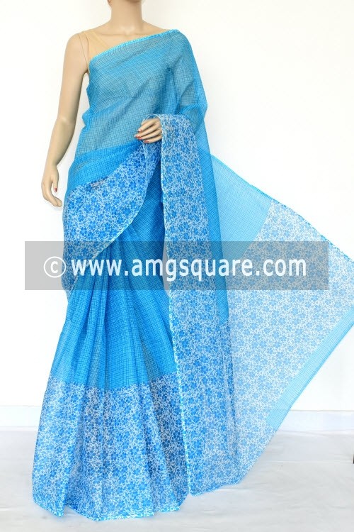 Pherozi Blue Premium JP Kota Doria Printed Cotton Saree (without Blouse) Hal-Half 15440