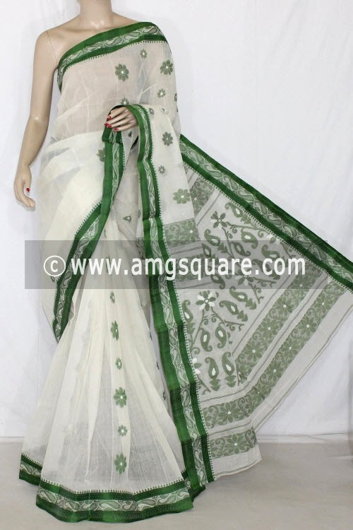 White Handwoven Bengal Tant Cotton Saree (Without Blouse) Resham Border 14138