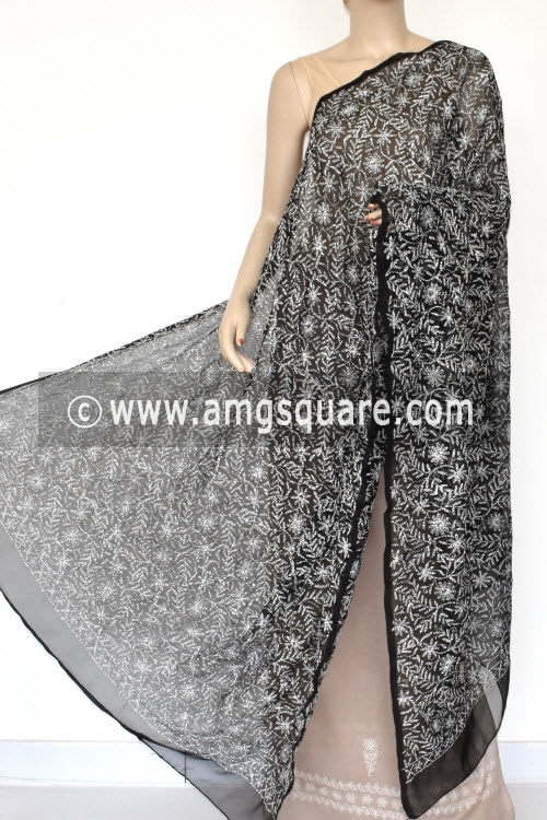 Black Hand Embroidered Allover Tepchi Work Lucknowi Chikankari Dupatta (Georgette) 17934