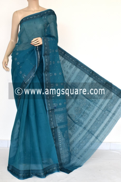 Deep Blue Handwoven Bengal Tant Cotton Saree (Without Blouse) 17043